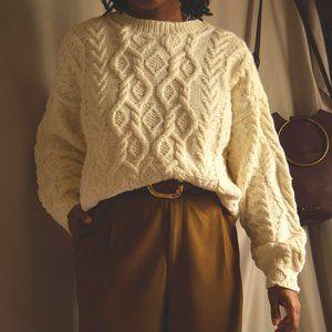 Vintage Ivory Crew Knit Sweater |M|